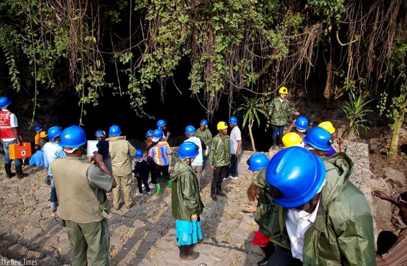 Preparation for Musanze Caves Exploration - At Entrance